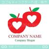 りんご,アップル,林檎,ハート,愛のロゴマークデザインです。