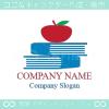本,アップル,リンゴをモチーフにしたロゴマークデザインです。