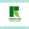 R文字,グリーン,エコ,リーフをイメージしたロゴマークデザインです。