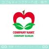 林檎,リーフ,ハート,愛がイメージのロゴマークデザインです。