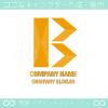 B文字,矢,拡張,黄色がモチーフのロゴマークデザインです。