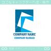 拡大,手紙,青,四角がモチーフのロゴマークデザインです。
