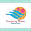 桜,太陽,風のイメージのロゴマークデザインです。