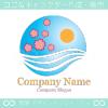 桜,風,太陽のイメージのロゴマークデザインです。