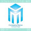 M文字,ビルをイメージしたロゴマークデザインです。