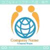 人間,地球,U文字のイメージのロゴマークデザインです。