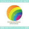 虹、カラフル、太陽をイメージしたロゴマークデザインです。