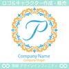 P,アルファベット,フラワーリース,花,植物,自然のロゴマークデザイン