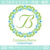 B,文字ト,フラワーリース,花,植物,自然のロゴマークデザイン