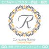 文字R,フラワーリース,花,植物,自然のロゴマークデザイン