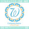 W,M,アルファベット,フラワーリース,花,植物,自然のロゴマークデザイン