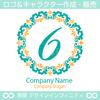 数字6,フラワーリース,花,植物,自然のロゴマークデザインです。