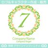数字の7,フラワーリース,花,植物,自然のロゴマークデザインです。