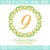 数字9,フラワーリース,花,植物,自然のロゴマークデザインです。