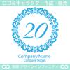 数字20,フラワーリース,花,植物,自然のロゴマークデザインです。