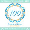 100,数字フラワーリース,花,植物,自然のロゴマークデザイン