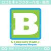 アルファベットB,四角,緑色のロゴマークデザインです。