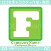 アルファベットF,四角,緑色のロゴマークデザインです。
