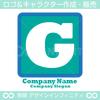 G,アルファベット,四角,青色のロゴマークデザインです。