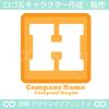 文字,H,アルファベット,四角,黄色のロゴマークデザインです。