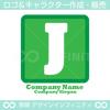 J,アルファベット,四角,緑色のロゴマークデザインです。