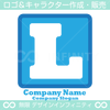 L,アルファベット,四角,青色のロゴマークデザインです。