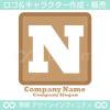 N,アルファベット,四角,茶色のロゴマークデザインです。