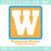 W,アルファベット,四角,黄色のロゴマークデザインです。
