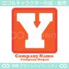Y,文字,四角,赤色のロゴマークデザインです。