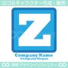Z,アルファベット,四角,青色のロゴマークデザインです。