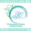 B文字,アルファベット,リース,植物,自然のロゴマークデザインです。