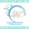 K文字,アルファベット,リース,植物,自然のロゴマークデザインです。
