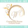 W文字,アルファベット,リース,植物,自然のロゴマークデザイン