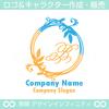B,アルファベット,リース,植物,自然のロゴマークデザインです。