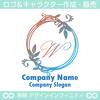 W,アルファベット,リース,植物,自然のロゴマークデザインです。