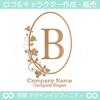 アルファベットB,リース,植物,自然,ロゴマークデザインです。