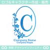 C,アルファベット,リース,植物,自然,丸のロゴマークデザイン