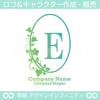 E,アルファベット,リース,植物,自然,丸のロゴマークデザインです。