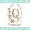 Q,アルファベット,リース,植物,自然,丸のロゴマークデザインです。