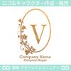 勝利のV,アルファベット,リース,植物,自然のロゴマークデザイン