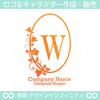 W,アルファベット,リース,植物,自然,丸のロゴマークデザイン