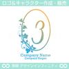 3,数字,花,葉,リース,植物,自然,丸のロゴマークデザイン
