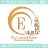 E,アルファベット,花,植物リースのロゴマークデザインです。