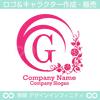 アルファベット,G,花,月,植物リースのロゴマークデザイン