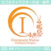 文字I,アルファベット,花,植物のロゴマークデザインです。