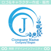 J,アルファベット,月,花,植物のロゴマークデザインです。