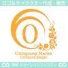 O,アルファベット,花,植物のロゴマークデザインです。