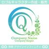 Q,アルファベット,花,月,植物のロゴマークデザインです。