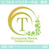 T文字,アルファベット,花,植物のロゴマークデザインです。