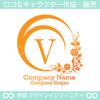 V,アルファベット,花,植物リースのロゴマークデザインです。